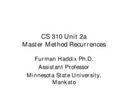 CS 310 Unit 2a Master Method Recurrences