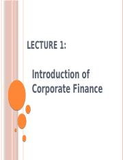 Lecture 1 - introduction of corporate finance (2)