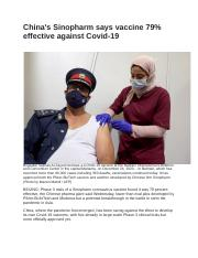 China's Sinopharm says vaccine 79% effective against Covid-19.docx
