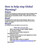 How to help stop Global        Warming