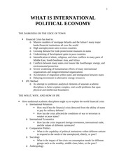 WHAT IS INTERNATIONAL POLITICAL ECONOMY