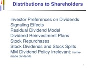 Distributions to Shareholders - Dividends and Stock Repurchases (1)