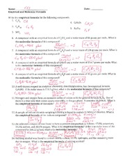 Worksheet Empirical Formula Worksheet empirical and molecular formula of the 1 pages key