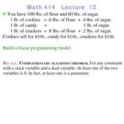 Lecture 12 on Linear Programming