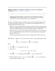 Lecture 21 (Absolute Convergence and Conditional Convergence)