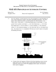 Homework A on Principles of Automatic Control