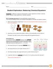 Balancing Equations Gizmo - Student Exploration Balancing ...