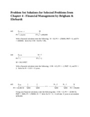 Problem Set Solutions for Selected Problems from Chapter 4 - Financial Management by Brigham & Ehrha