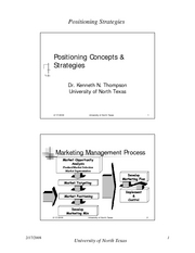 Positioning Concepts & Strategies