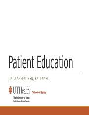Patient Education Fall 2016