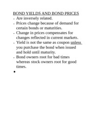 BOND YIELDS AND BOND PRICES
