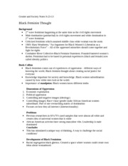 Gender and Society Notes 9-23-13: Black feminist thought