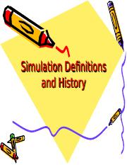 1. Simulation Definitions and History