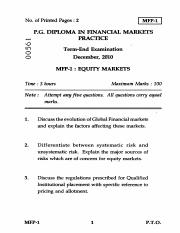 (www.entrance-exam.net)-IGNOU PG Diploma in Financial Markets Practice - Equity Market Sample Paper