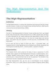 12. The High Representative And The Ombudsman
