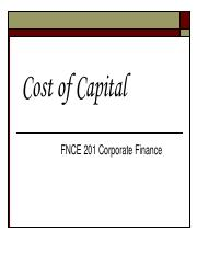 Topic 2 Cost of Capital