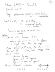 Review Notes 2009 09 10 - Tutorial 2