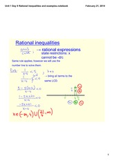 Rational Inequalities and examples