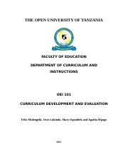 OEI 101 Curriculum Development and Evaluation