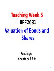 Lecture 5 - Valuation of Bonds and Shares
