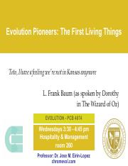 Lecture 18- The First Living Things
