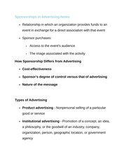 Sponsorships in Advertising Notes