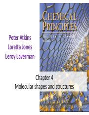 Chapter 4-Molecular shapes, VSEPR, hybridization, MO theory, polarity