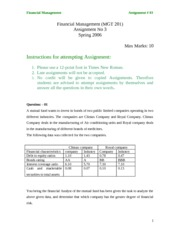Financial Management - MGT201 Spring 2006 Assignment 08