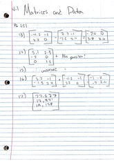 Homework, Matrices & Data