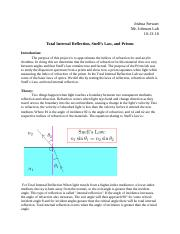 Total Internal Reflection, Snell's Law, and Prisms