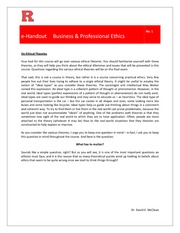 eHandout 1 - On Ethical Theories