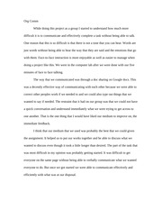 group activity Reflection Essay