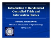 #9 PH150A Feb8 Randomized Control Trials
