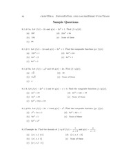 Sample Problems Exponential and Logarithmic Functions