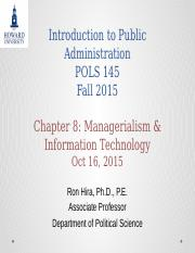Introduction to Public Administration Lecture  Chapter 8 Managerialism and Information Technology Fa
