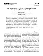 KC & Terwiesch - Econometric Analysis of Patient Flows in CICU - MSOM 2012