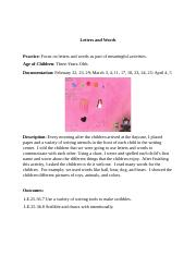 8 Erma Johnson's Language & Literacy In Early Childhood Letters And Words Documentation Paper.docx