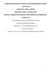 8) LABORATORY REPORT FOR BASIC FOOD PREPARATION COURSE