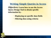 Lecture 14 Simple Queries