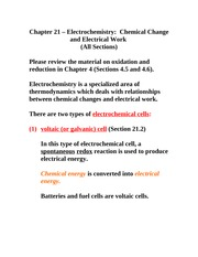 Chemical Change and Electrical Work