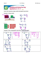 10.2 & 10.3 Modelling and Solving 2-Step Equations