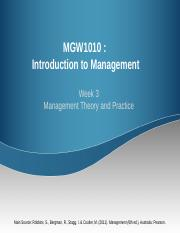 MGW1010_Week 3  Management Theory and Practice