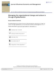Managing the organizational change and culture in the age of globalization