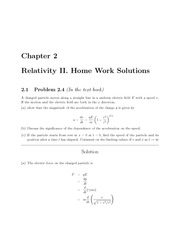 PHYS 205 Fall 2009 Chapter 2 Homework Solutions