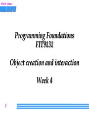 Week 4 Lecture - Object interaction