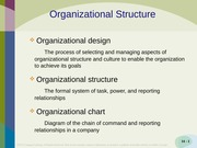 Organizational Structures Chapter 7