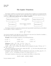 Lecture 6 on The Laplace Transform, Delta Function, Convolution