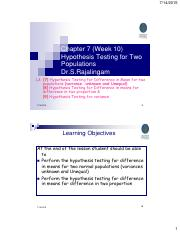 Chapter 07 W10 L3 Hypothesis Testing 2 Populations 2015 UTP C7