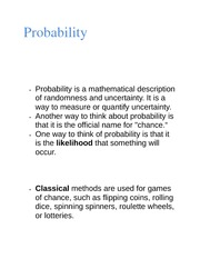 Probability class notes