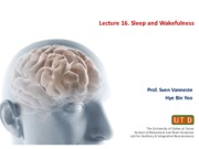 Lecture 16. Sleep and Wakefulness